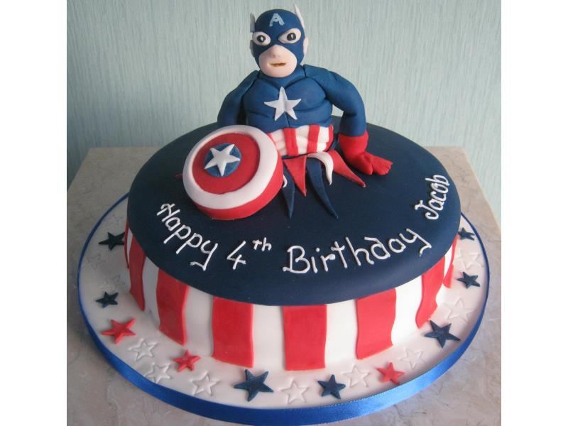 Captain America and Spiderman in Madeira and chocolate sponges for 4th birthdays in Lytham