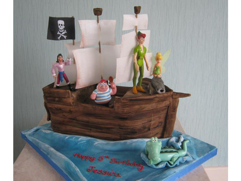 Peter Pan, Tinkerbell, Capt Hook and friends on a galleon in chocolate sponge for Jessica in Blackpool