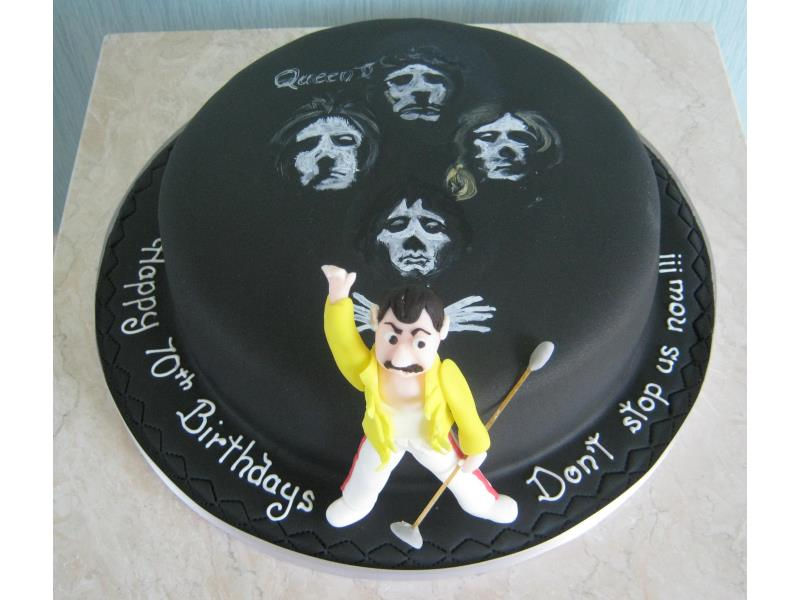 Freddie Mercury & Bohemian Rhapsody for a special couple's 70th birthday in Lytham St Annes, made from chocolate with orange sponge