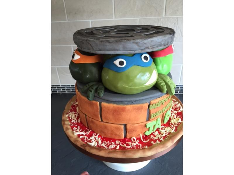 Ninja Turtles in vanilla sponge for Jack's birthday in Thornton