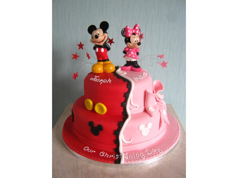 Mickey and Minnie - Disney themed Christening Cake for Joseph and Autumn in Blackpool, made from lemon sponge and Madeira