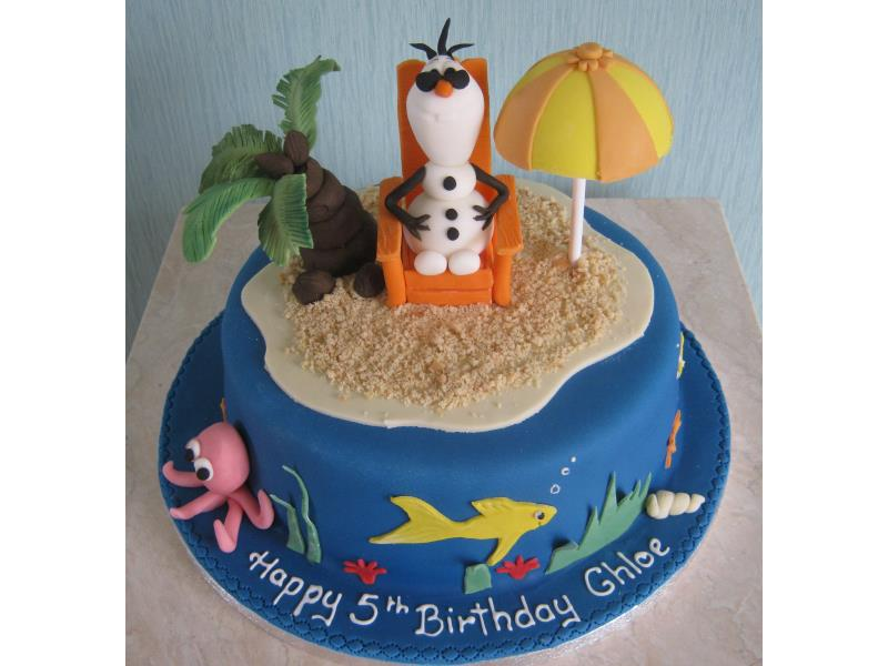 Olaf by the sea - Frozen themed plain sponge for Chloe in Blackpool