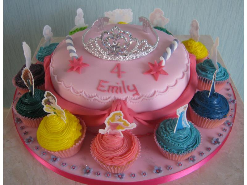 Disney Princesses, both in cake (Madeira sponge) and cupcakes in chocolate sponge for Emily Over Wyre