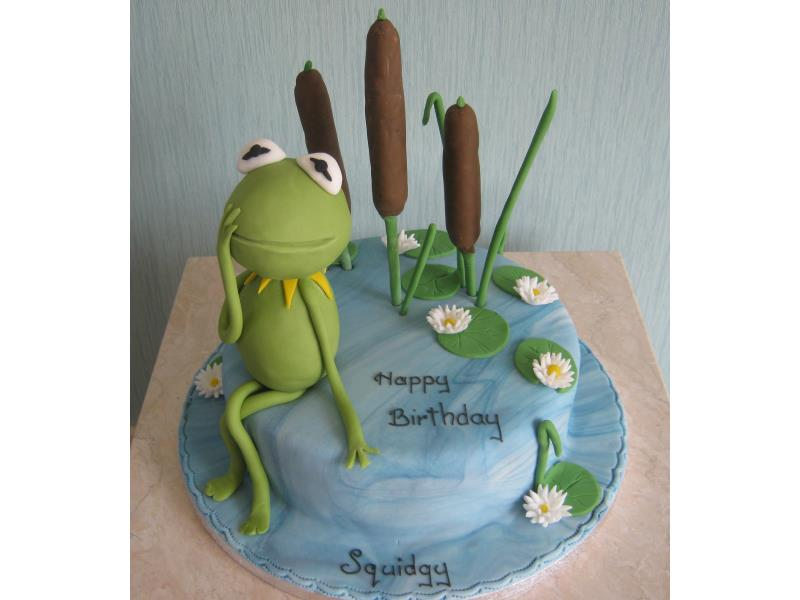 Kermit in the bullrushes for Squidgy in Lytham, made from plain sponge