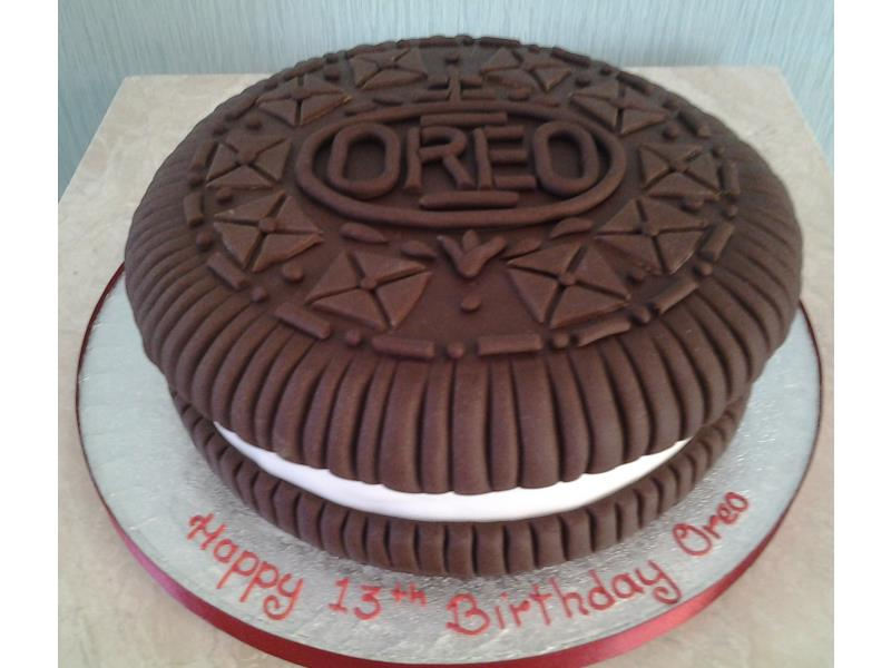 Oreo -13th birthday cake in chocolate and plain sponges for Oreo Lucas from Newcastle upon Tyne