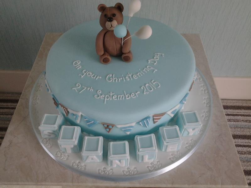 Teddy Bear with bunting made from vanilla sponge for Stanley's Christening in Thornton
