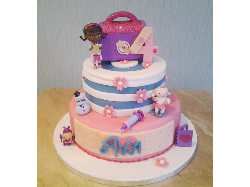 Doc McStuffins in vanilla and plain sponges for Ava in Cleveleys