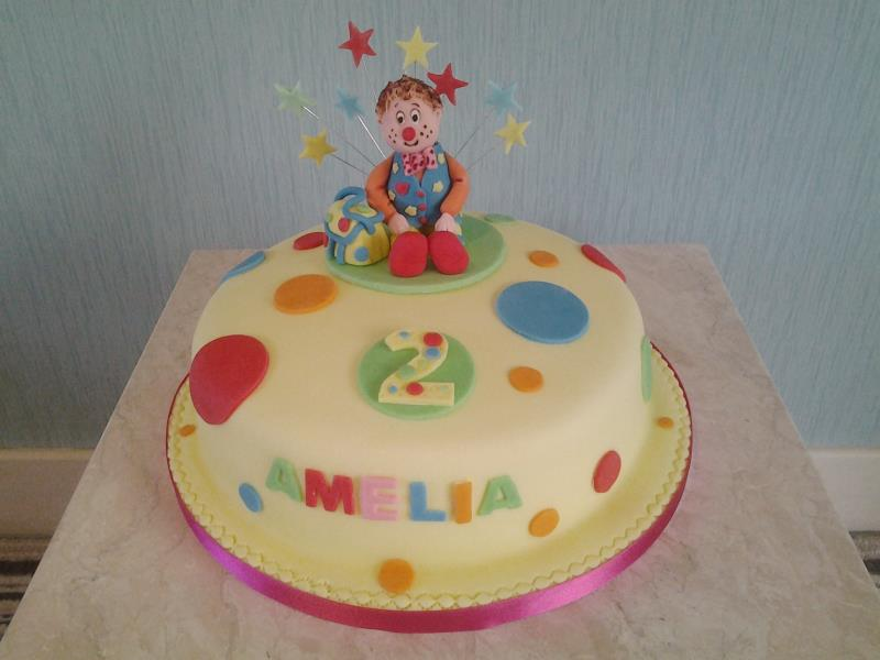 Mr Tumble birthday cake for Amelia's 2nd birthday in Blackpool, made from chocolate sponge
