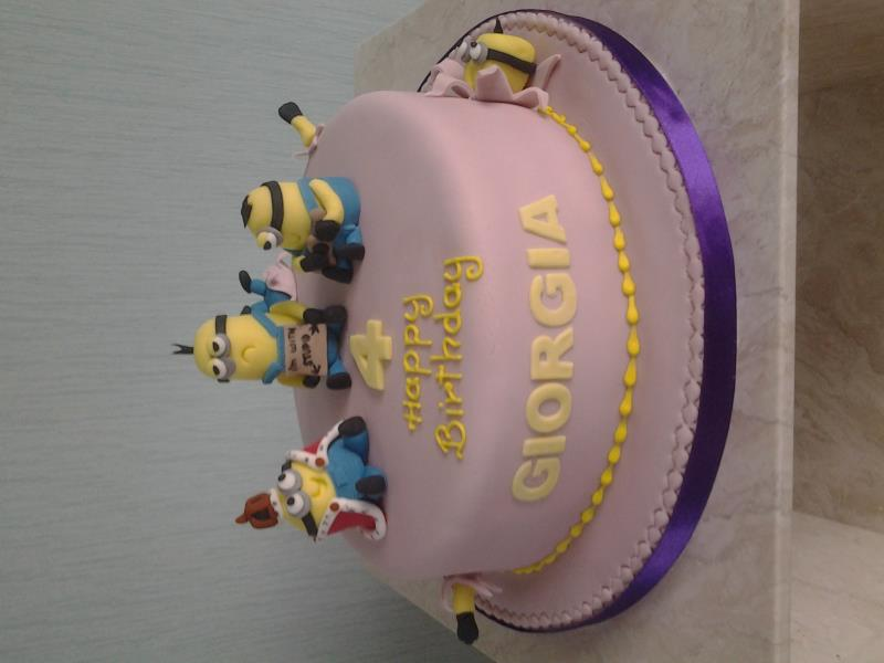 King Bob, Kevin and Stuart Minions for Giorgia's birthday in Rossall, made from vanilla sponge
