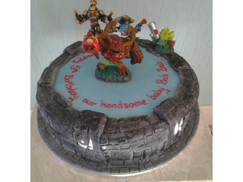 Skylander with toy figures in vanilla sponge for 5th birthday in Cleveleys