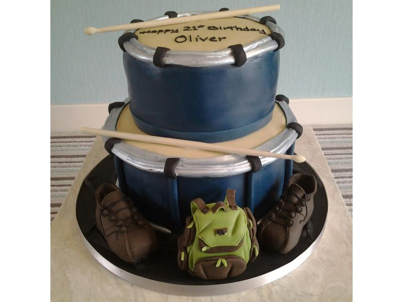Drums  witth backpack and boots for Oliver's 21st birthday in Thornton, made from Madeira and chocolate sponges
