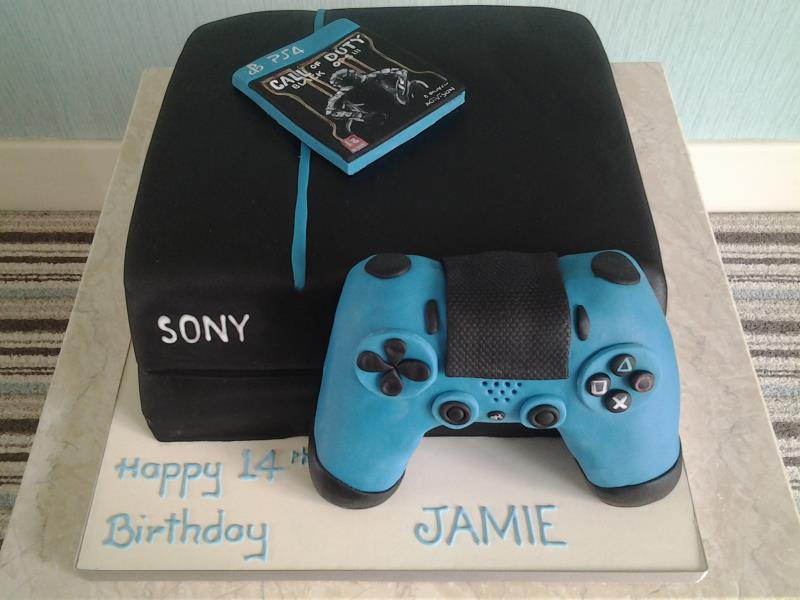 PS4 with Call of Duty  in black with blue controller, made from vanilla sponge for Jamie in Fleetwood
