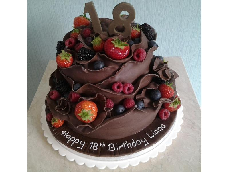 Chocolate Cake With Fresh Fruit Made From Sponge And Coated In Sugarpaste For