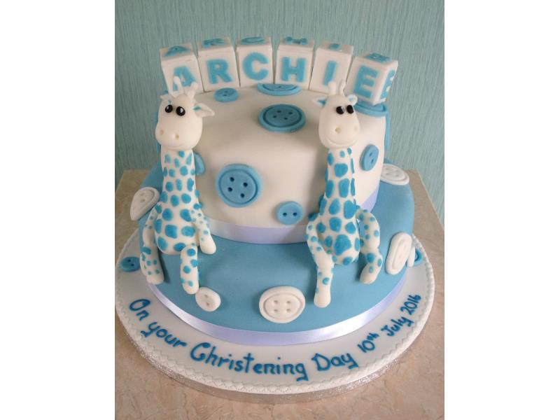 Giraffe Christening Cake in blue and white made from chocolate and plain sponges for Archie in Clevelys