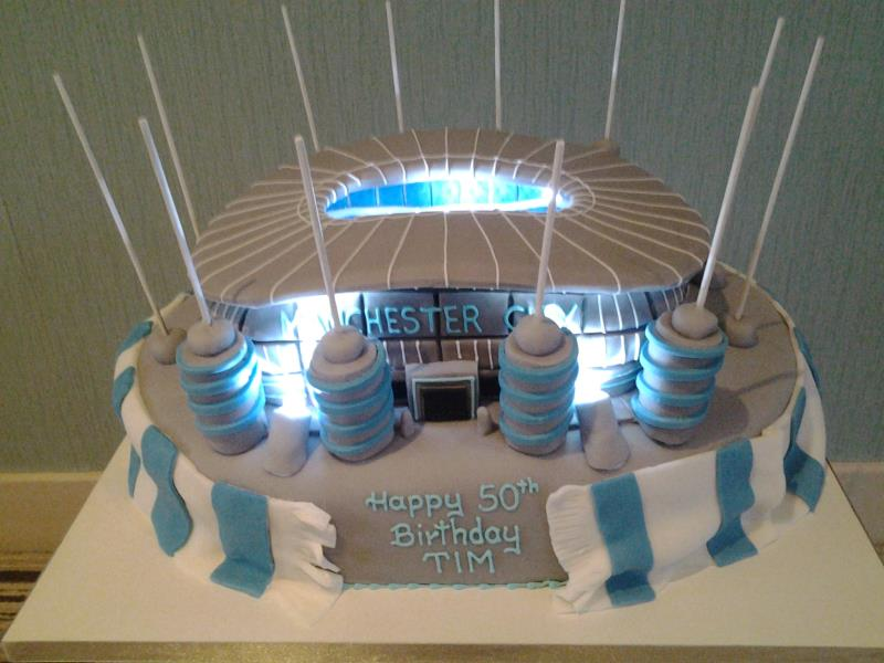 Ethidad Stadium B - this time lit with LEDs for Tim's birthday celebrations in Manchester