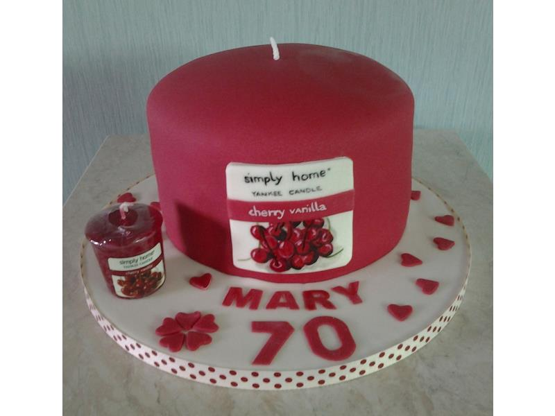 Mary - Yankee Candle cake with minature actual candle for Mary in Thornton, made from plain sponge