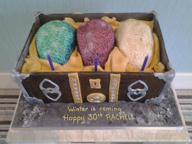 Game of Thrones - dragon eggs in treasure chest, made in chocolate sponge for Rachel in Bispham