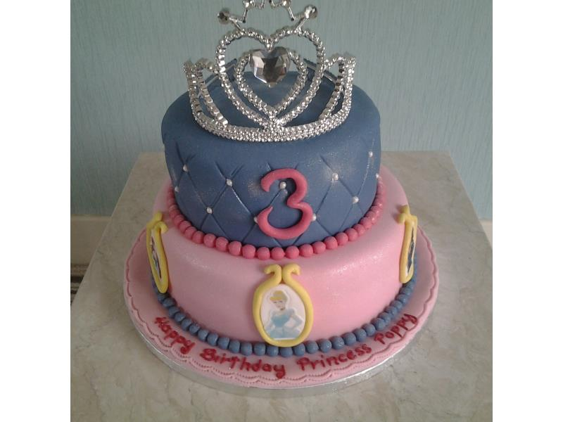 Disney Princess cake with tiara. 2 tiers made in vanilla sponge and chocolate sponge for Mollie in Blackpool