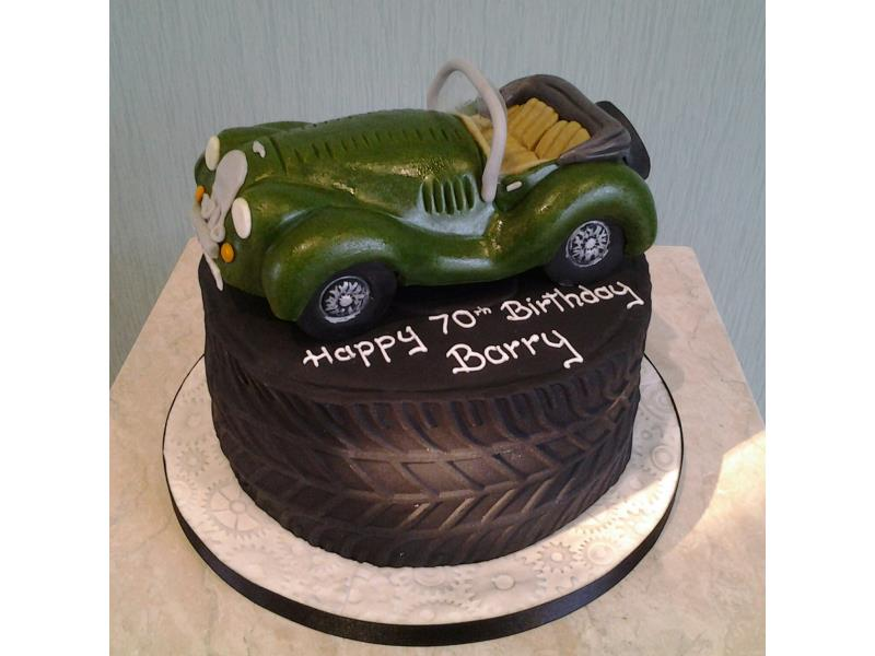 Morgan car - on a Tyre Cake of chocolate and orange sponge for Barry in Manchester