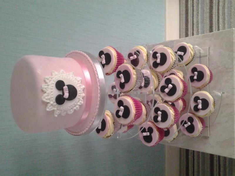 Minnie Mouse cake and cupcakes in vanilla sponge for Donna in Blackpool