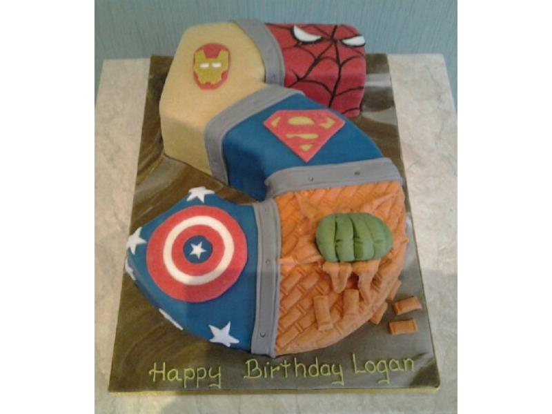 Superheroes 5 in plain sponge with Superman, Spiderman, Capt. America, and Hulk for Logan in Wesham