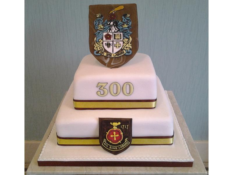 Baines School - 300th anniversary. Cake commissioned by Former pupils Association and made from vanilla sponge