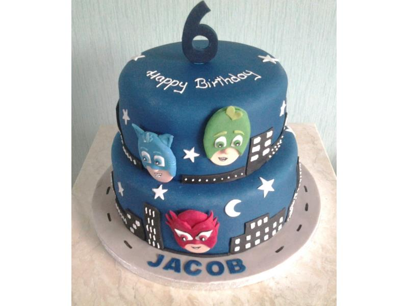 P J Masks - 2 tier cake in chocolate and plain sponges for Jacob in Lytham