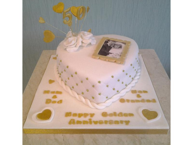 Golden Wedding Anniversary with framed photo with cake in chocolate sponge