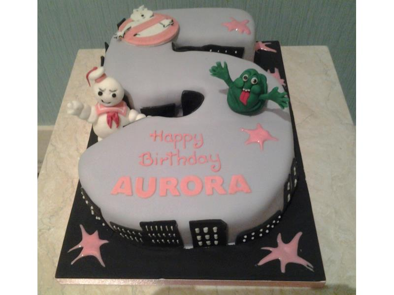 Girly Ghostbusters - 5th birthday cake in vanilla sponge for Aurora in Greenhalgh