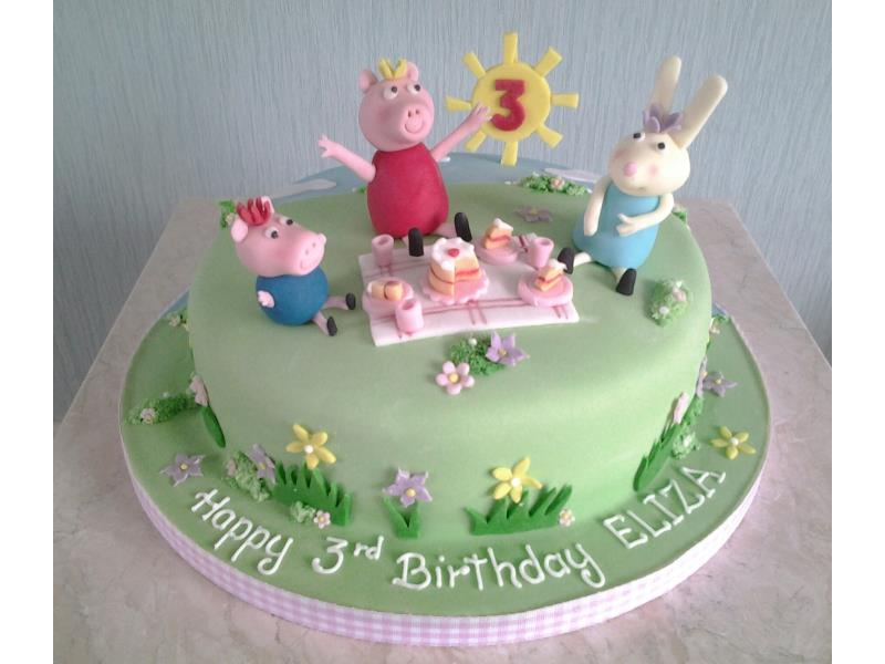 Peppa pig and Friends at a picnic for Eliza's 3rd birrthday in Edinburgh. Made from chocolate sponge