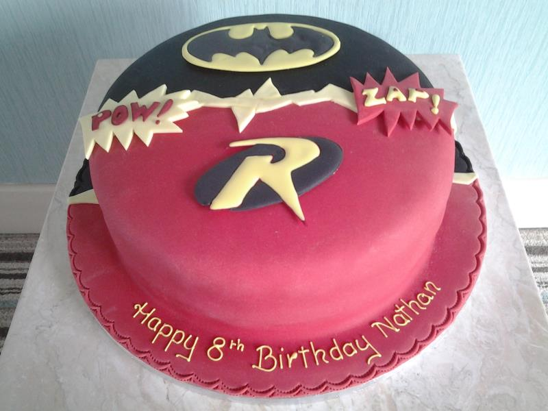 Batman with Robin birthday to cake to Nathan's own design in Blackpool. Made in vanilla sponge
