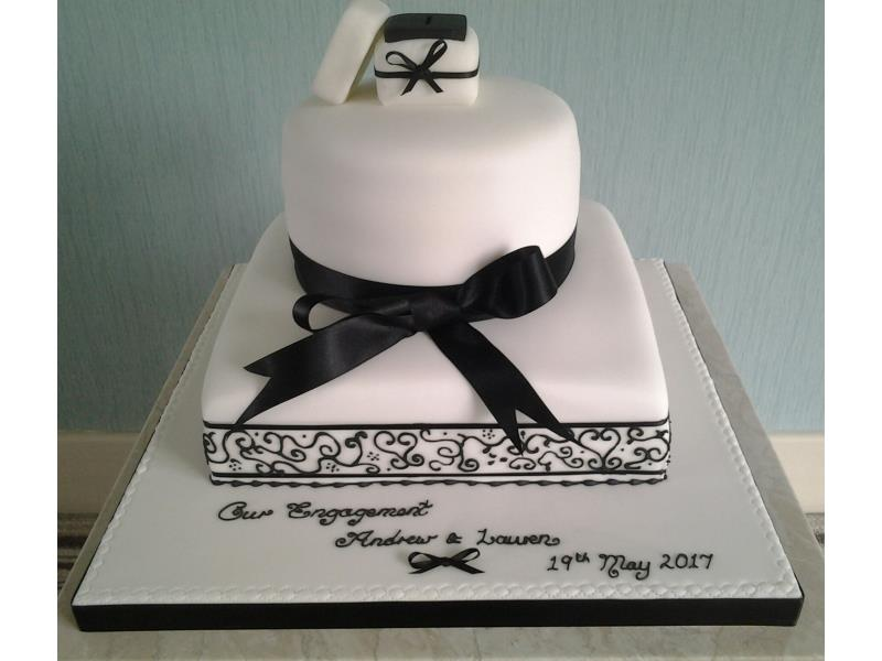 Black & White classy engagement with ring in a box cake for Lauren & Andrew in Blackpool. Made in chocolate with orange sponge
