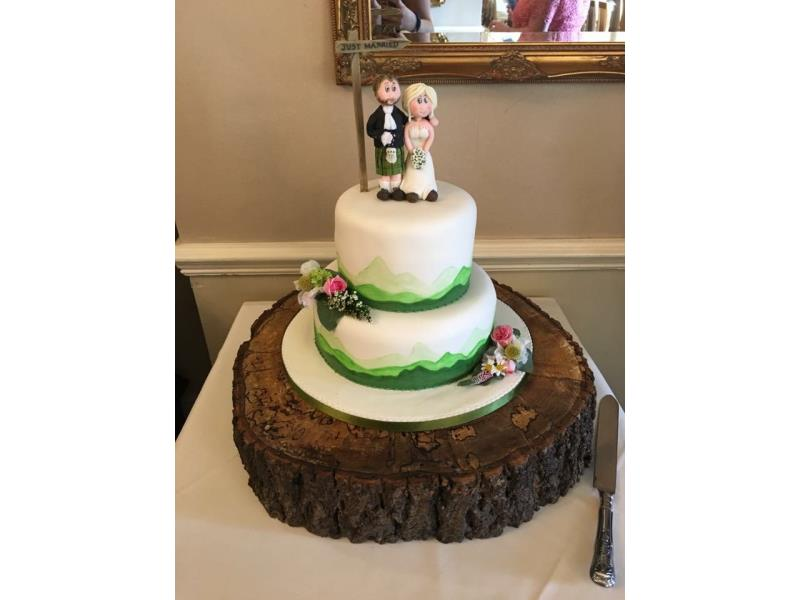 Hill walkers' wedding cake for Rachel & Gary at Merewood Country House Windermere.Made from fruit cake lemon sponge