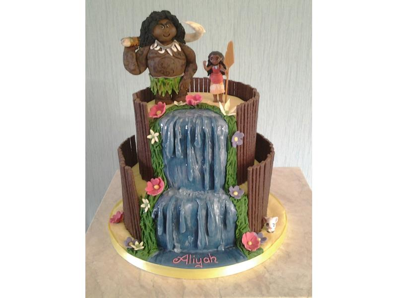 Moana with waterfall. 2 tier vanilla sponge cake with model and handmade figure for Aliyah's birthday in Fleetwood