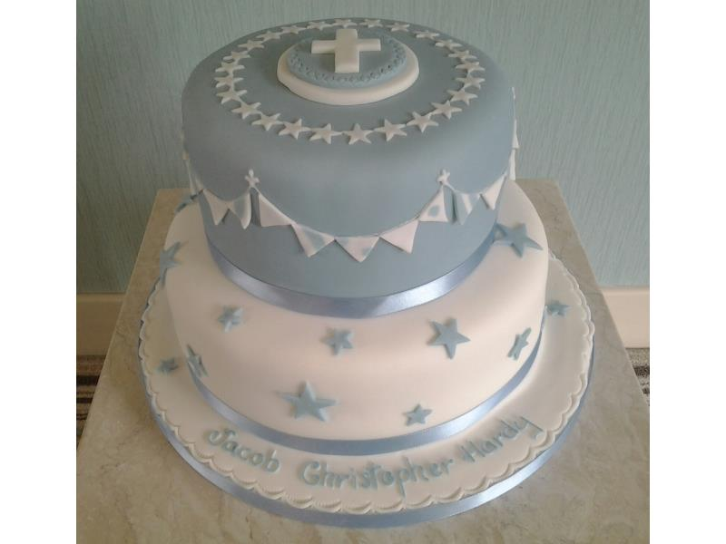 Blue & White - Jacob's Christening Cake with cross and bunting. Made from vanilla sponge