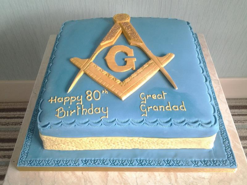 Freemason Themed Cake With Compass And Set Square In Chocolate Sponge For Davids 80th Birthday