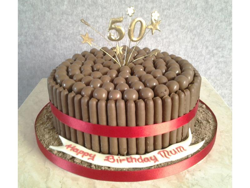 Cadbury Birthday Cake With Maltesers Nd Chocolate Finders Around A Sponge Made For Claires