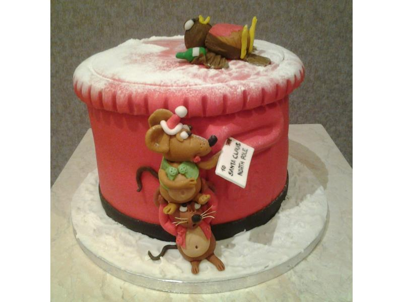 Christmas Themed Pillarbox In Fruit Cake For Cathy Claremont