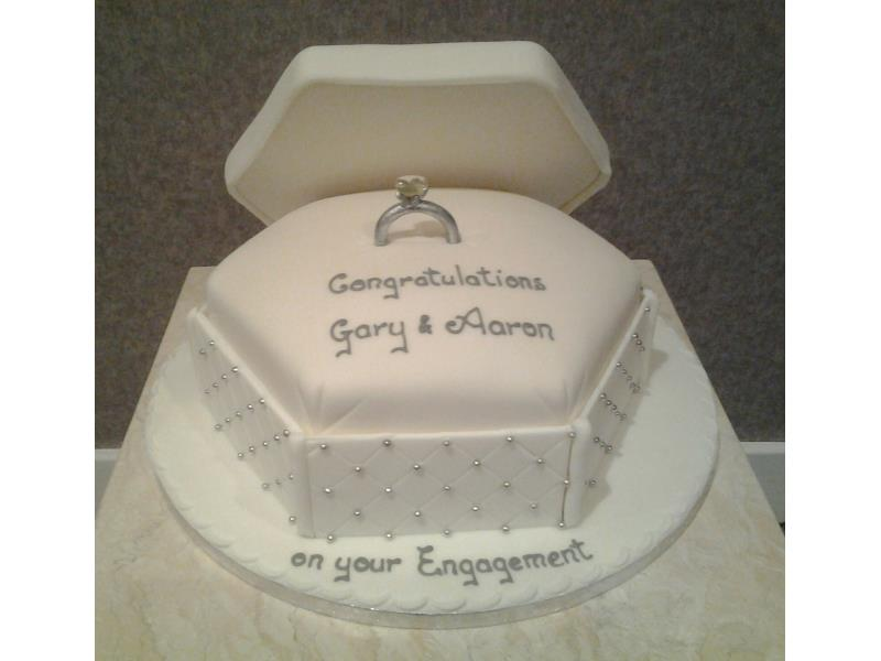 Diamond Ring - engagement cake in chocolate with orange sponge for Gary & Aaron's engement in Blackpool