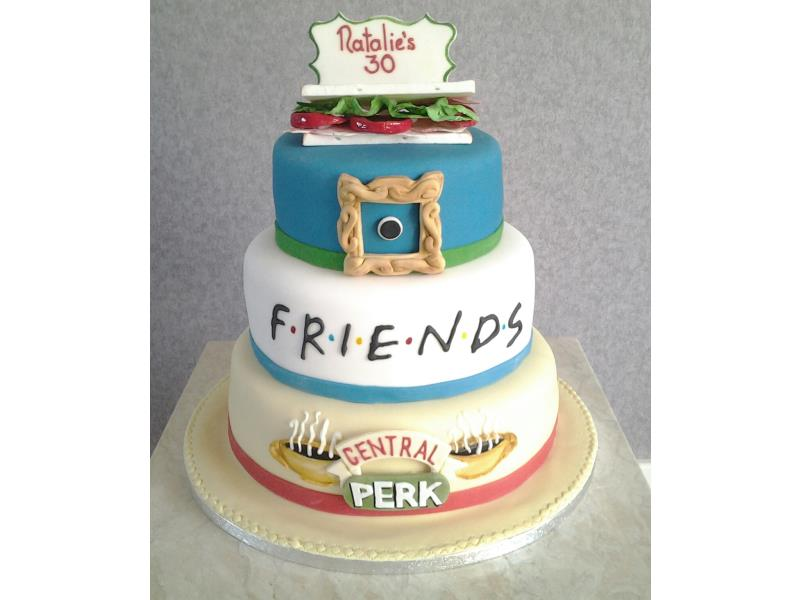 Friends Themed Birthday Cake For Natalies 30th In Blackpool Made From Chocolate And Lemon Sponges