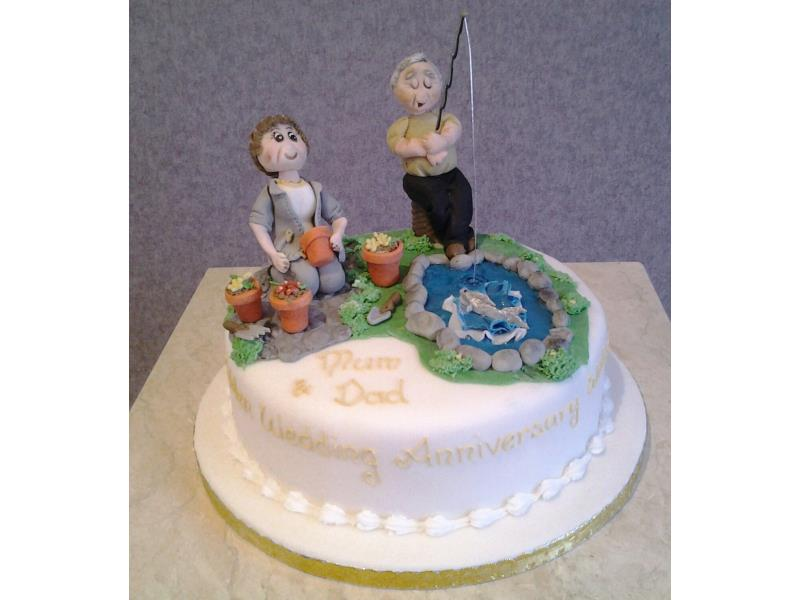 Fishing And Gardening Wedding Anniversary Cake In Chocolate Sponge For Couple Preston