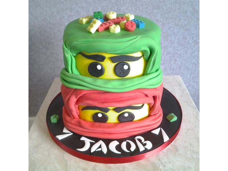 Lego Ninjago - Jacob's 7th birthday in Lytham. Made from vanilla and chocolate sponges