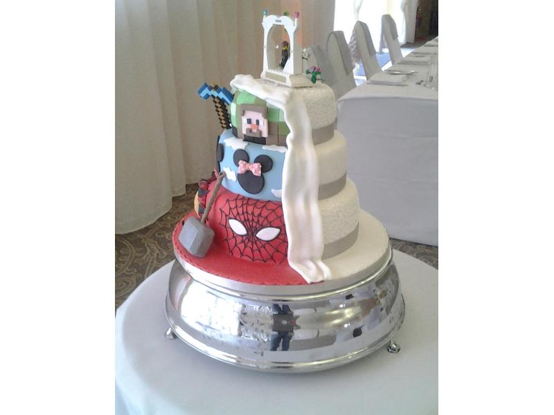 Traditional & Comic - half and half wedding cake with tradional, spiderman, Minecraft, Minnie Mousefor Kiera & Cameron at The Villa, Wrea Green