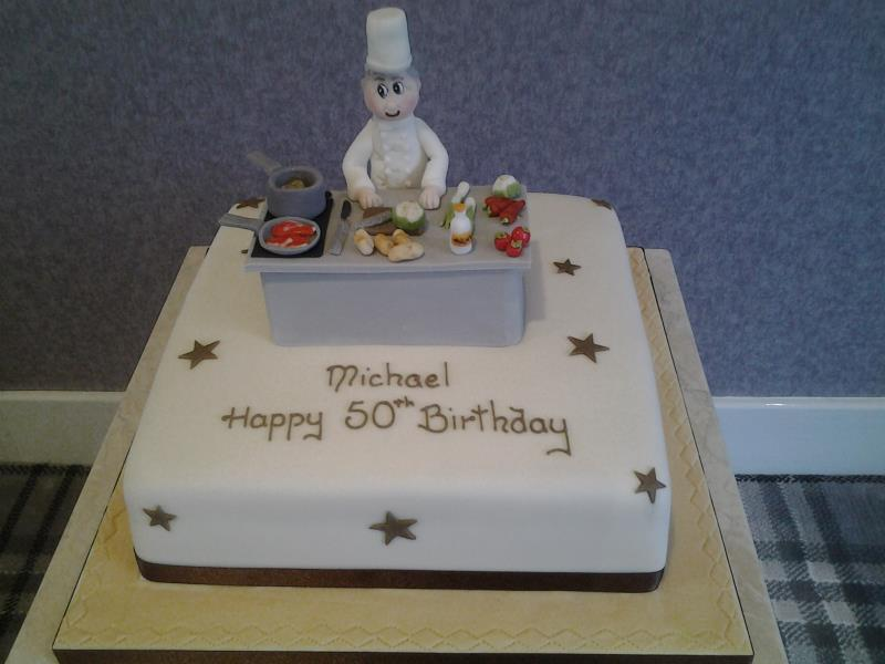 Chef -at work, made from chocolate with orange sponge and hand modelled figure and decorations. 50th birthday in Bispham