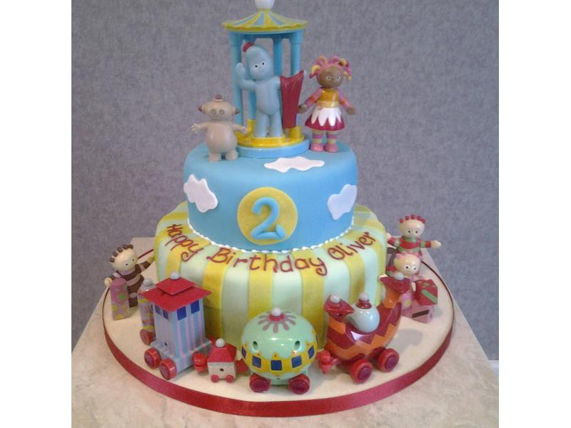 Iggle Piggle and In The Night Garden friends, made from cholcolate and vanilla sponges for Oliver in Blackpool