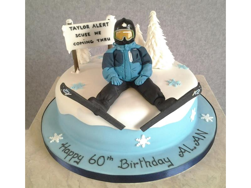 Skiing Mad Alans 60th Birthday Cake In Vanilla Psonge With Hand Modelled Figure