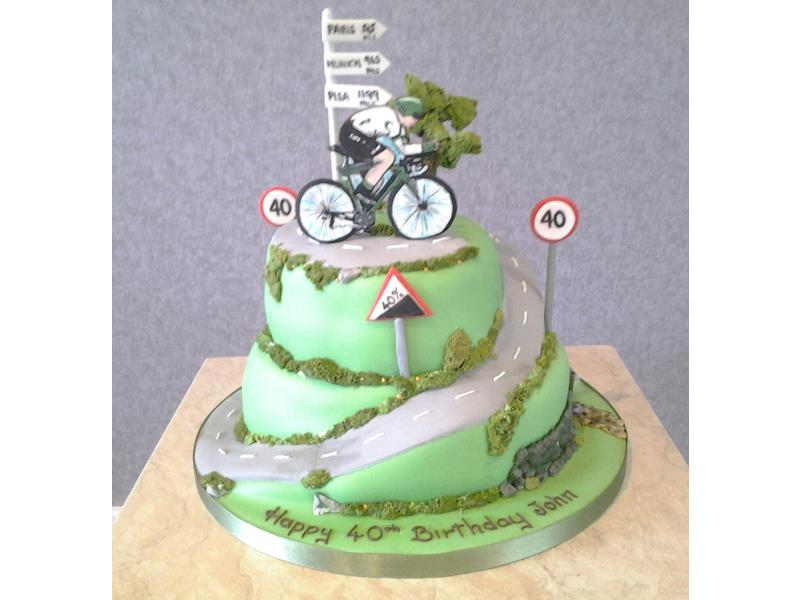 Racing Cyclist On A Hill Of Chocolate And Lemon Sponges For 40 Year Old