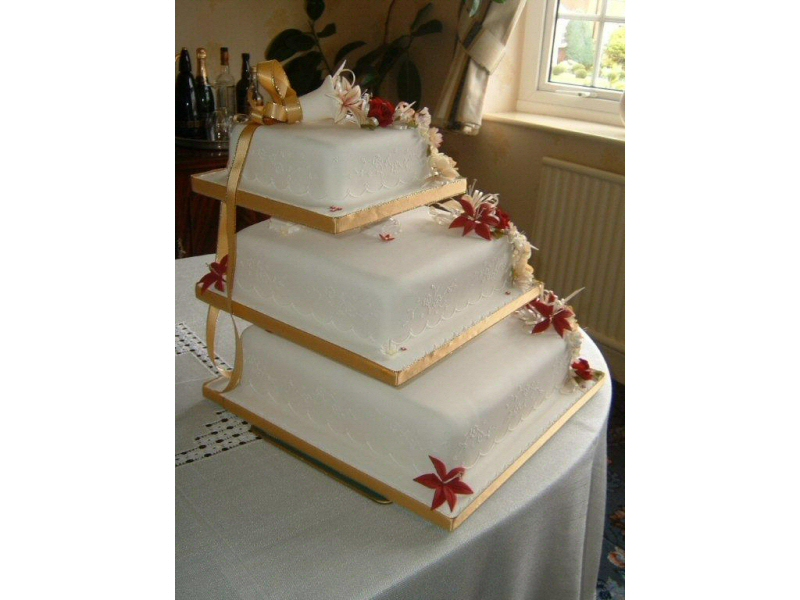 Yvie - 3 tier square cream wedding cake for Yvie, St Annes