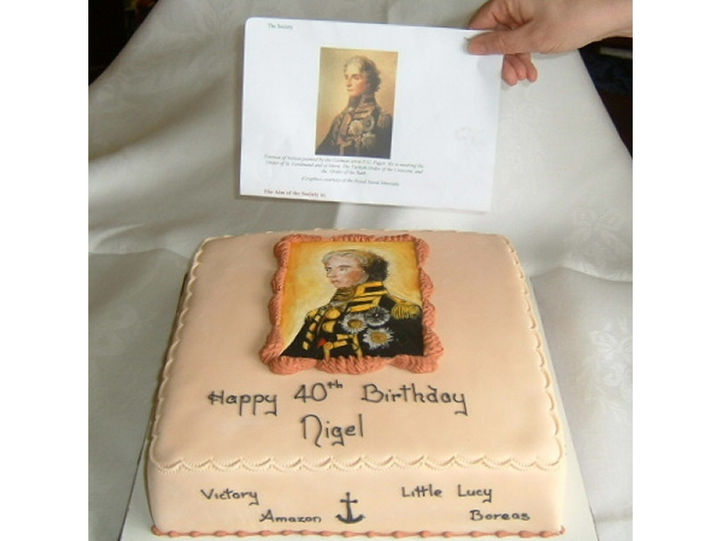 Nigel - Unique square birthday cake based on the interests of the customer, with a handpainted picture of Horatio Nelson copied from a portrait