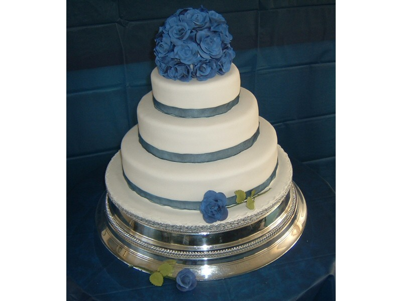 Ian and Carole - Simple blue themed wedding cake for Ian and Carole of Fleetwood